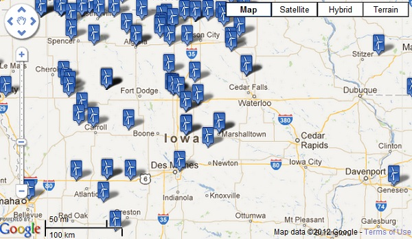 Iowa Wind Farm Map