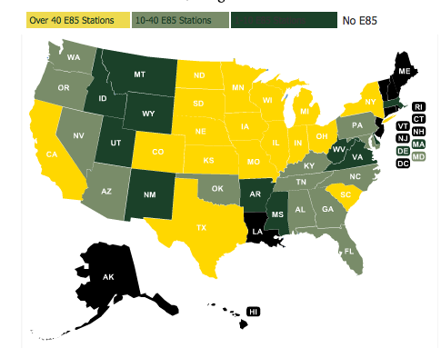 U.S. E85 Pumps by State