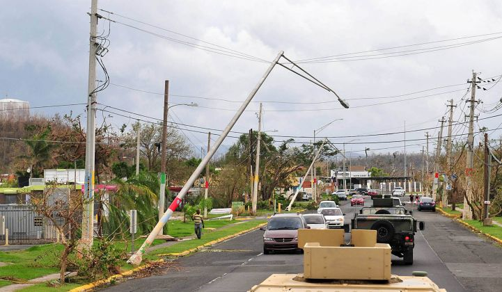 National guard presence in Loiza and Canóvanas after Hurricane Maria, showing power lines.