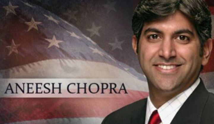 US CTO Aneesh Chopra, Champion of Consumer Energy Awareness, Resigns
